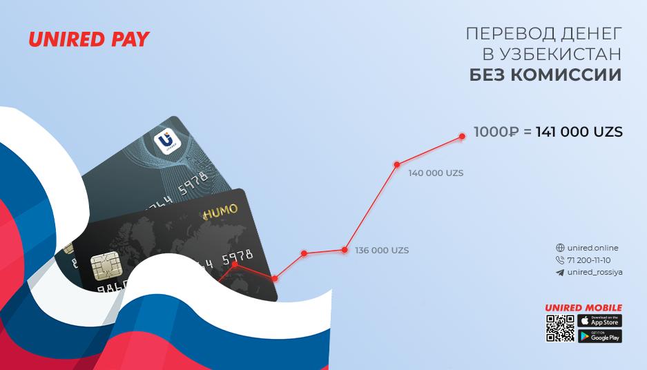 Осуществляйте переводы без комиссии с любой российской карты на национальные карты Узбекистана через приложение Unired Mobile