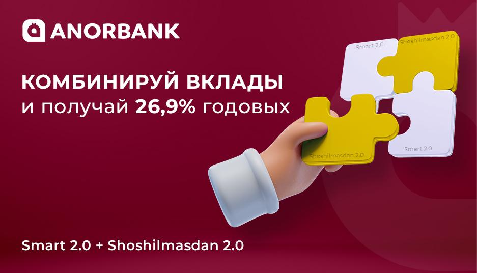 Комбинируйте вклады и получите максимальную доходность 26.9% годовых от ANORBANK